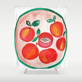 A plate of Red Apples Shower Curtain