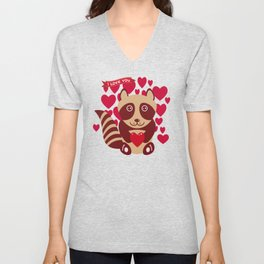 funny raccoon with red heart. I love you Unisex V-Neck