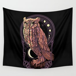 Owl Nouveau Wall Tapestry