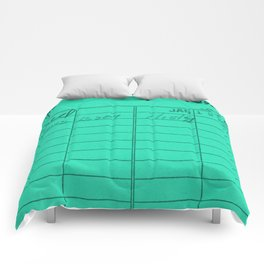 Library Card 797 Turquoise Comforters