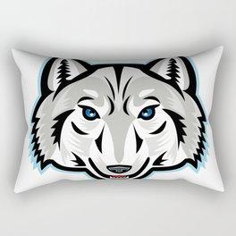 Artic Wolf Head Front Mascot Rectangular Pillow