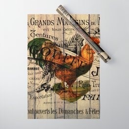 vintage typography barn wood shabby french country poulet chicken rooster Wrapping Paper