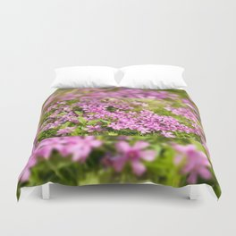 Phlox subulata pink flowering Duvet Cover