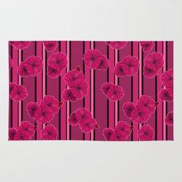 Floral pattern on striped background Rug