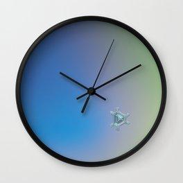 Real snowflake macro photo - Emerald Wall Clock