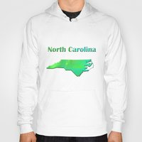 north carolina Hoodies featuring North Carolina Map by Roger Wedegis