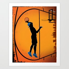 Basketball Player Silhouette Art Print