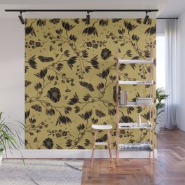 Orchid Owl Yellow Wall Mural