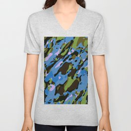 green blue and brown camouflage graffiti painting abstract background Unisex V-Neck
