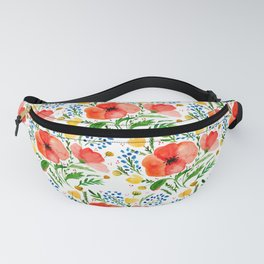 Flower bouquet with poppies - red, yellow and blue Fanny Pack