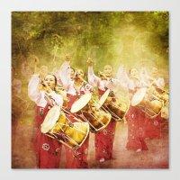 korean Canvas Prints featuring korean drummers by FarbCafé