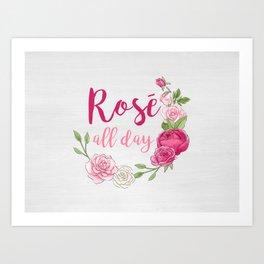 Rose All Day - White Wood Art Print