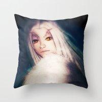 dark souls Throw Pillows featuring Priscilla [Dark Souls] by JeyJey Artworks