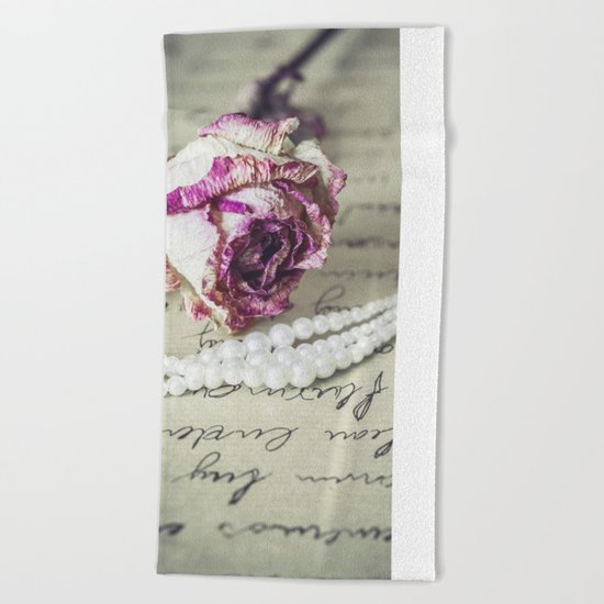love letter with pearls and rose Beach Towel