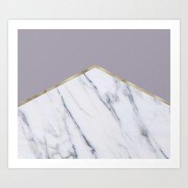 Smokey lilac - gold geometric marble Art Print