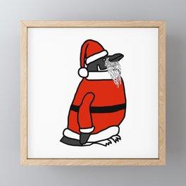 Cute penguin dressed in a Santa suit, Santa hat and white beard Framed Mini Art Print