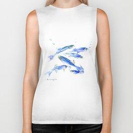 Blue Fish Aquatic fish design Biker Tank