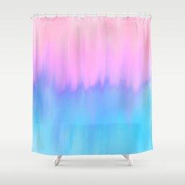 Elegant teal lavender pink watercolor brushstrokes ikat Shower Curtain