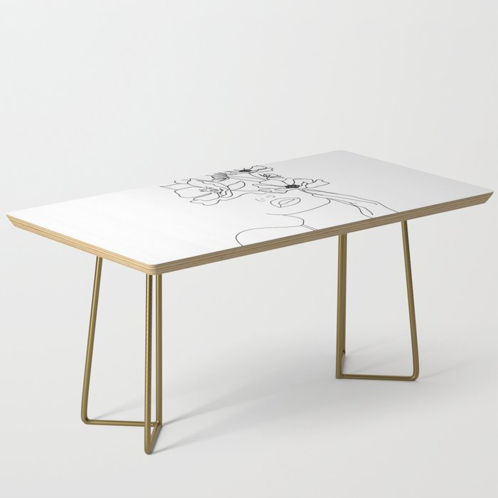 Minimal Line Art Woman with Flowers Coffee Table