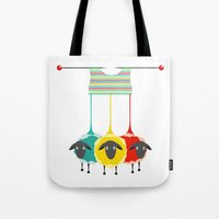 knitting Tote Bags featuring Knitting sheep by Popmarleo