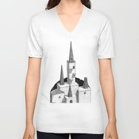hyrule V-neck T-shirts featuring Hyrule Castle  by Cam Floyd Illustration