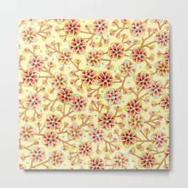 Candy Apple Blossom Yellow Metal Print