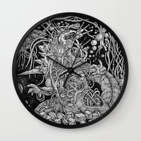 godzilla Wall Clocks featuring Godzilla by Walid Aziz