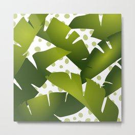 Banana Palm Leaves, Green and White Dots Metal Print
