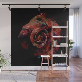Fluid Nature - Marbled Red Rose Wall Mural