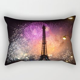 Amazing Fireworks Behind the Eiffel Tower Rectangular Pillow
