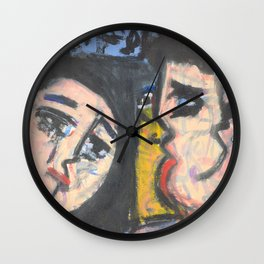 Two lovers expressionist painting Wall Clock