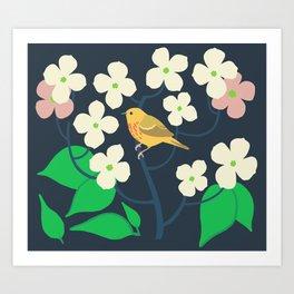 Yellow Warbler + Dogwood Art Print