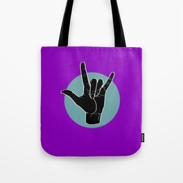 ILY - I Love You - Sign Language - Black on Green Blue 05 Tote Bag