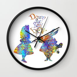 Down The Rabbit Hole Colorful Watercolor Art Wall Clock