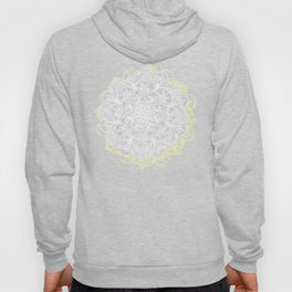 Yellow & White Mandalas on Grey Hoody