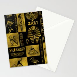 Egyptian  Gold hieroglyphs and symbols collage Stationery Cards