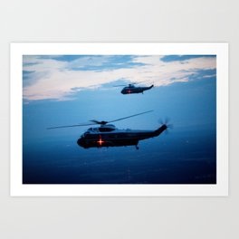 Support Helicopters Fly at Dusk Art Print