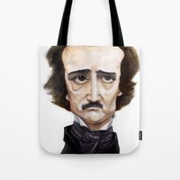 edgar allen poe Tote Bags featuring Poe by Vito Quintans