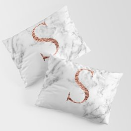 Monogram rose gold marble S Pillow Sham