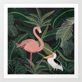 Flamingo and Pelican Art Print
