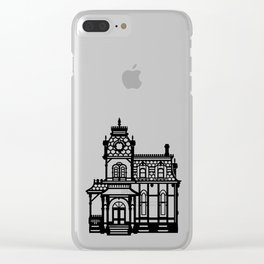 Old Victorian House - black & white Clear iPhone Case