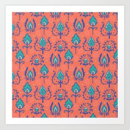Red Ikat Doodle Pattern Art Print