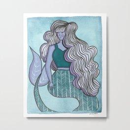Purple Mermaid Metal Print