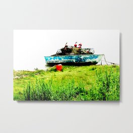 Lobster Dinghy With Lobster Traps Metal Print