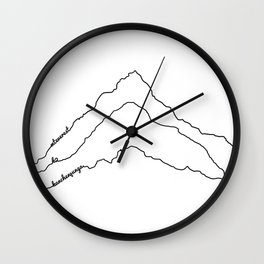Tallest Mountains in the World B&W / Mt Everest K2 Kanchenjunga / Minimalist Line Drawing Art Print Wall Clock