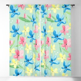 Floral Fields in Pink Blue and Yellow Blackout Curtain
