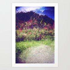 Flowers Plastic Camera Double Exposure Art Print