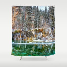 A Serene Chill Hanging Lake Winter Shower Curtain