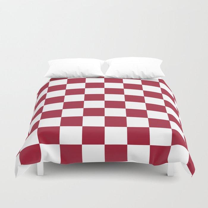 Crimson Red Checkered Pattern Duvet Cover