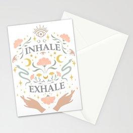 Breathe, inhale exhale yogi zen master poster white Stationery Cards